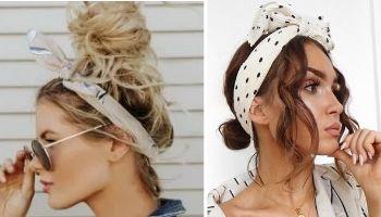 coque de cabelo com tiara ou lenço