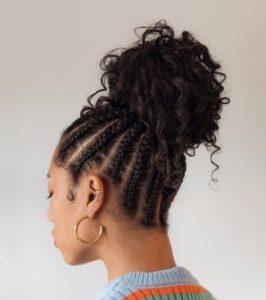 coque de cabelo e trança