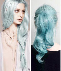 cabelo azul tiffany