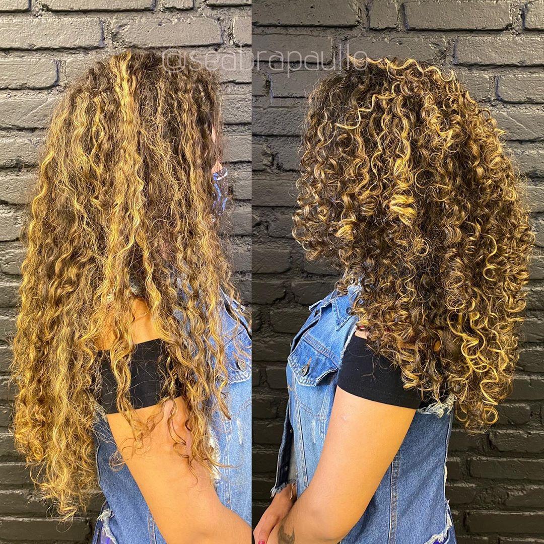 corte de cabelo cacheado antes e depois