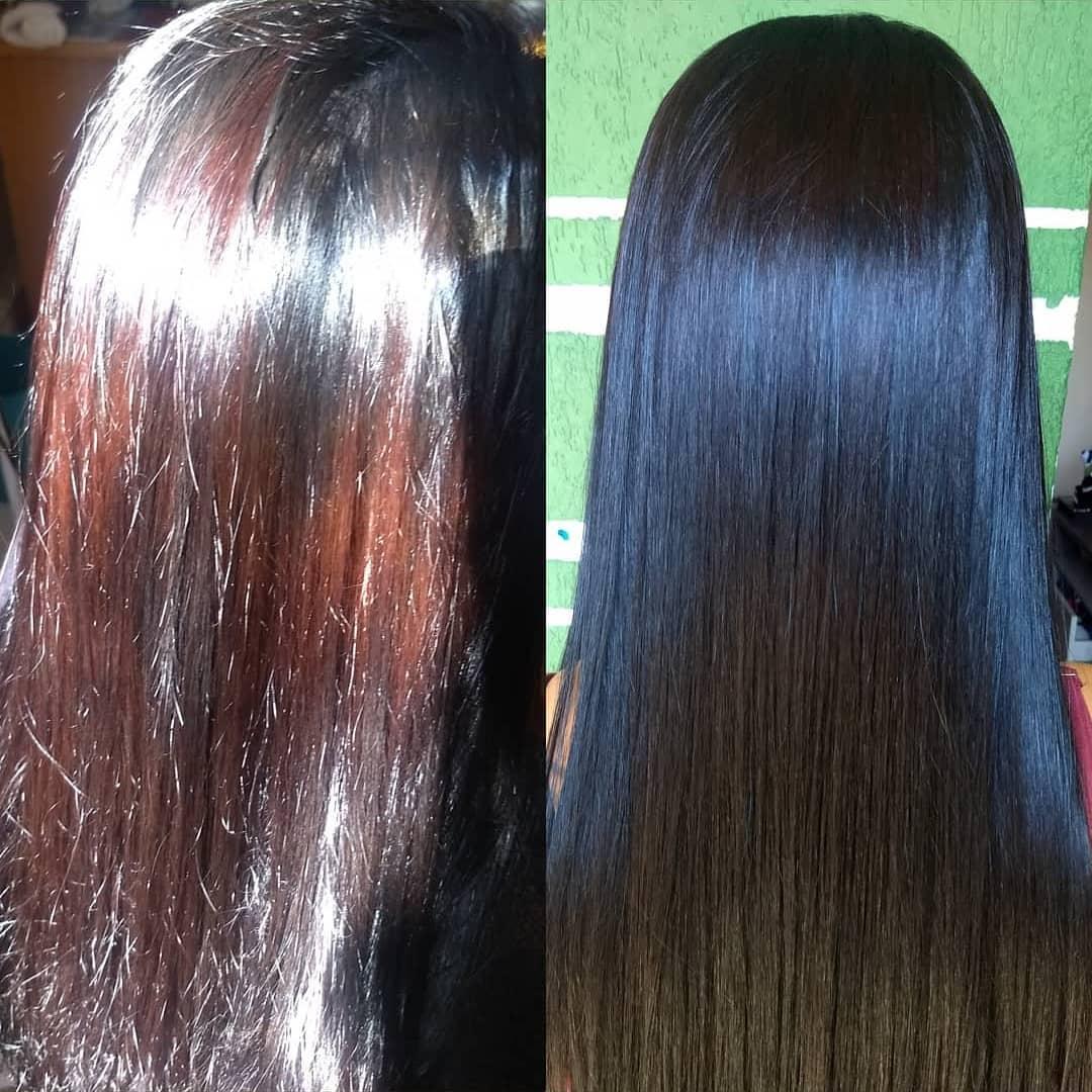 resultado do banho de petróleo no cabelo