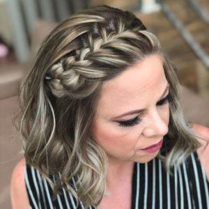 trança em cabelo curto tiara