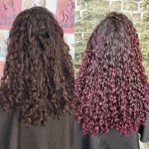 cabelo cacheado marsala sem descolorir
