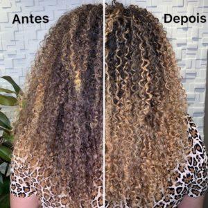 antes e depois botox em cabelo cacheado