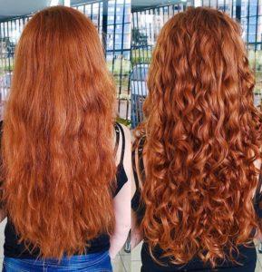 cabelo enrolado com ondas ativadas