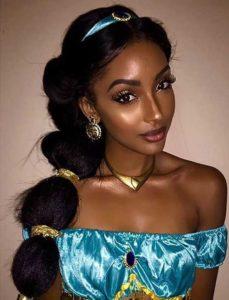 penteado de princesa jasmine