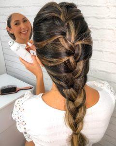 Penteados para festa em cabelo médio trança